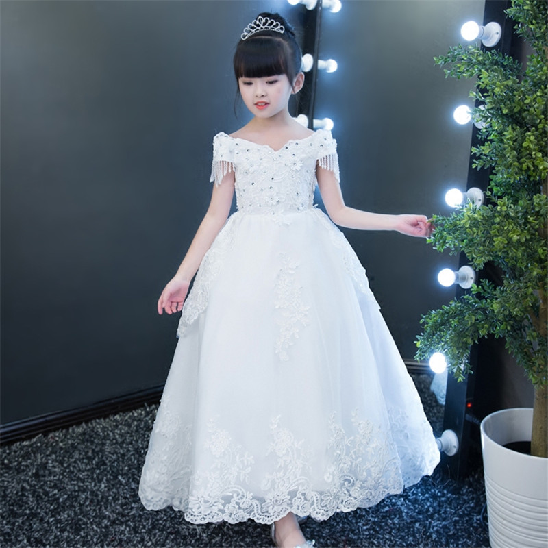 2019 New Arrival Luxury Elegant Children Girls White Color Shoulderless Design Princess Party Dress Kids Birthday Wedding Dress