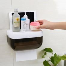 Toilet Paper Holder Creative Plastic Bath Box Waterproof Wall Mounted Storage Bathroom Tissue Dispenser