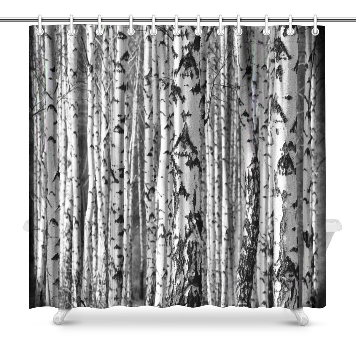 Birch Trees Trunks Black And White Natural Art Decor Shower Curtain Extra Long