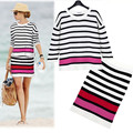 Free shipping 2015 New Summer Style Cute Strip twoPiece Dress Slim Fit Women two piece outfits