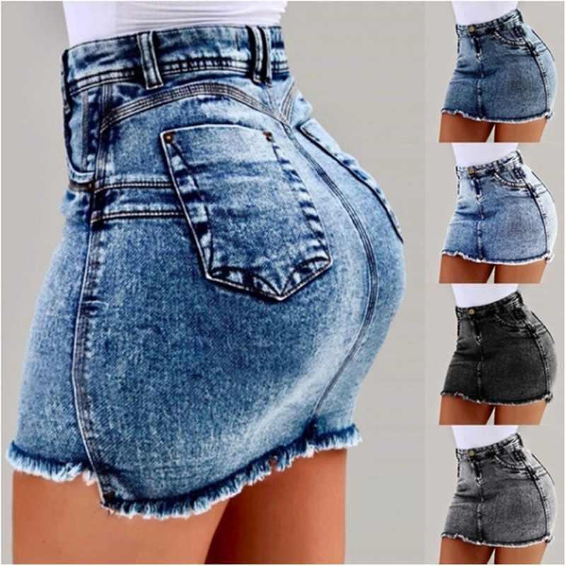 Litthing Sexy High Waist Women Denim Skirts Blue Bodycon Pencil Skirt Women Plus Size Summer Skirt For Women Blue Black New 3XL