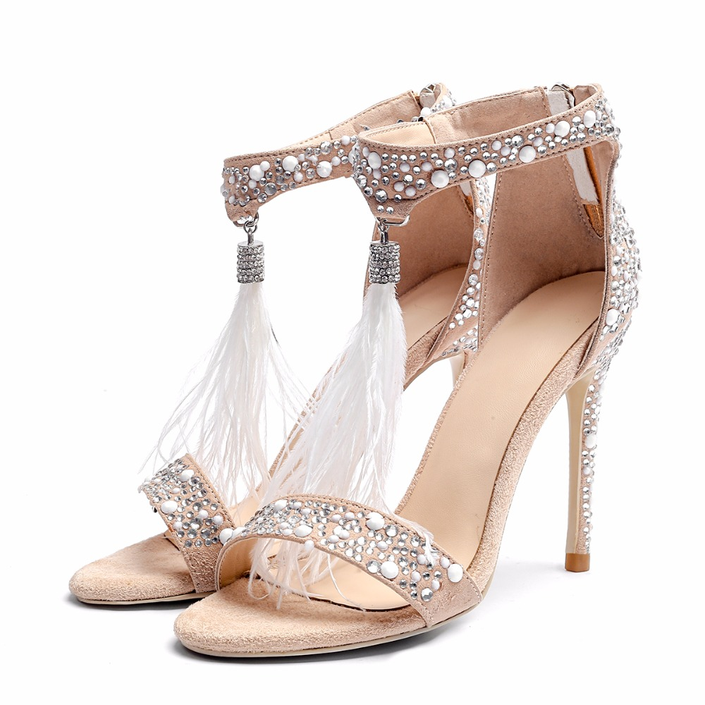 Elegant gown footwear celebration footwear phrase with rhinestone feather excessive heels ankle ladies's footwear with massive dimension with massive dimension Excessive Heels, Low-cost Excessive Heels, Elegant gown footwear celebration...