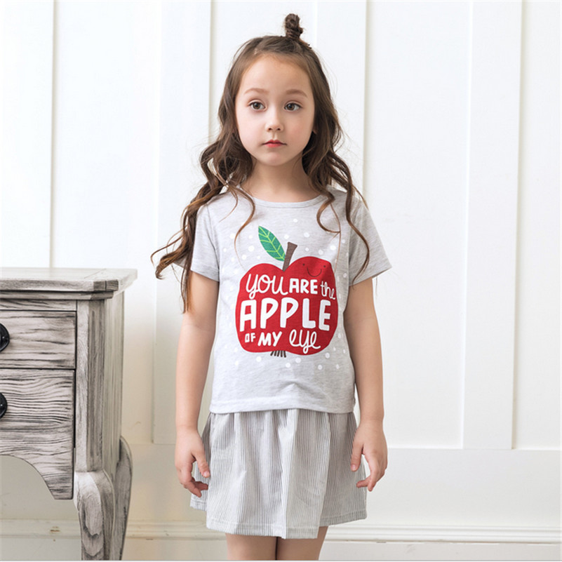 Girls clothing sets t shirt+dress two-piece suits 2017 baby girl clothes summer short sleeve tops and dress girl clothes 2016 3 7y kids girls t shirt summer cartoon elsa and anna baby gilr clothes t shirt short sleeve for children girl tops clothing
