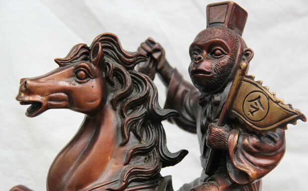 "SCY S0522 13 ""הסיני הברונזה מלך הקופים לרכב שנה גלגל המזלות פגסוס סוסים פסל"