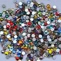 Nail Art Cystals Colores de La Mezcla de Cristal No Caliente del Arreglo Posterior Plana Rhinestone SS3 SS4 SS5 SS6 SS8 SS10 SS12 SS16 SS20 SS30 SS34 Glitters