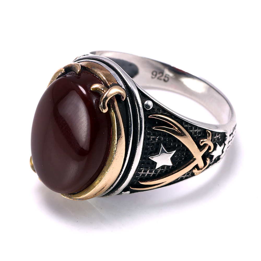 Genuine Solid 925 Silver Rings Cool Vintage Rings Natural Onyx Big Turkish Rings For Men With Stones Turkish Jewellery