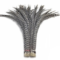 Wholesale 32 40''/80 100CM Natural Zebra Lady Amherst Pheasant Tail Feathers For Crafts Phesant zebra feather For Carnival Plume