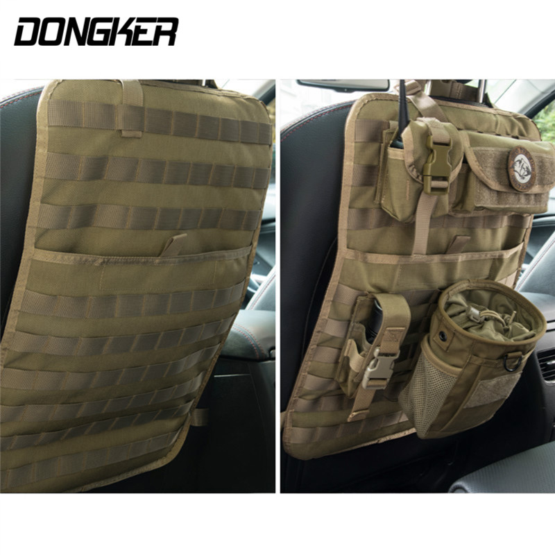 Outdoor Tactical Molle Car Seat Organizer 600D Nylon Seat Back Covers Multi-Pocket Car Seats Cover Fit For All Cars Front Seat