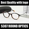 Marca Nueva Ronda Mujeres Gafas Marco 5307 Negro Tortuga Opitcal Prescripción gafas de Moda ojo Marcos de los Vidrios con el caso