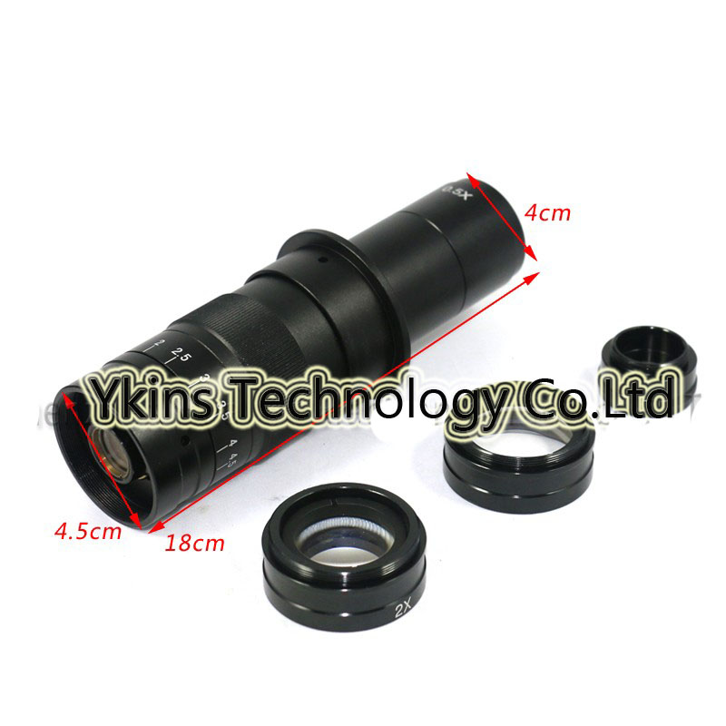 10X~180X Adjustable Magnification 25mm Zoom C-mount Lens+0.5X/2.0X Barlow Auxiliary Lens+2.5X Industry microscope eyepiece lens цена