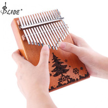 17Key Kalimba Рождественская елка звуковое отверстие одноплатный красное дерево большой палец пианино Mbira натуральный мини-клавиатура инструмент Рождественский подарок