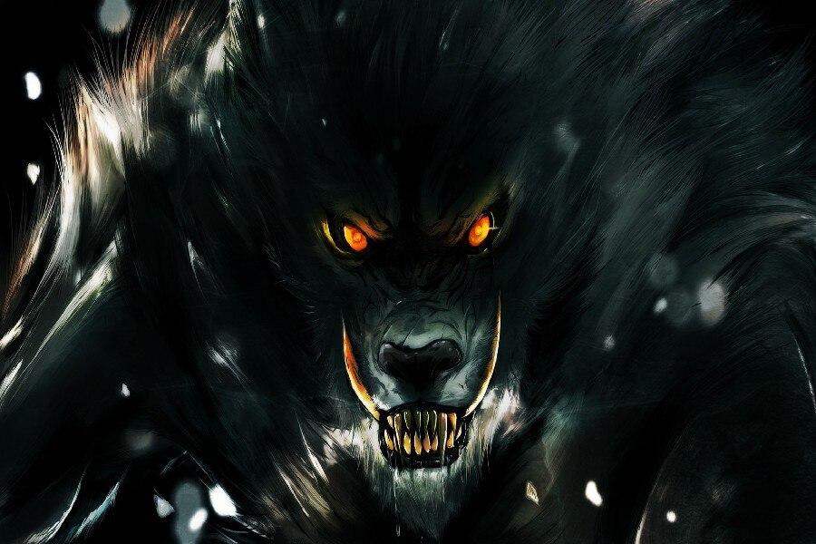 ₪DIY marco Hombre Lobo Ojos fuego Fantasy Artwork Telas seda cartel ...