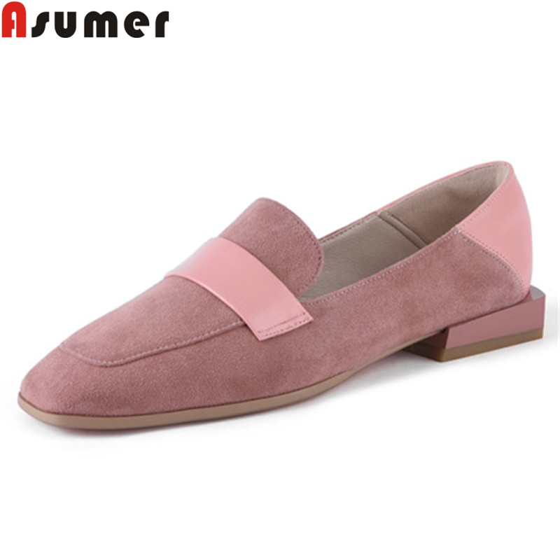 ASUMER big size 34-42 fashion pring autumn new shoes woman square toe   suede     leather   shoes women casual comfortable flats women