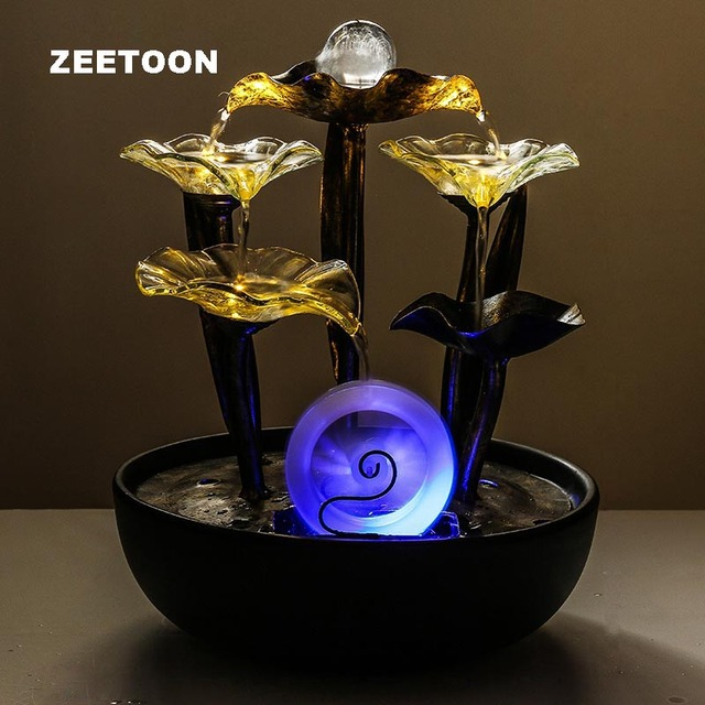 110V 220V Tabletop LED Water Fountain Feng Shui Waterwheel ...