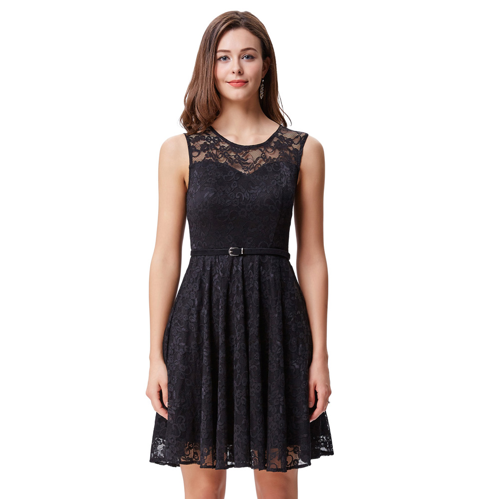 Women Sexy Summer Vintage Pleated Floral Lace Flared Dress 50s Style Prom Party Sleeveless Crew Neck
