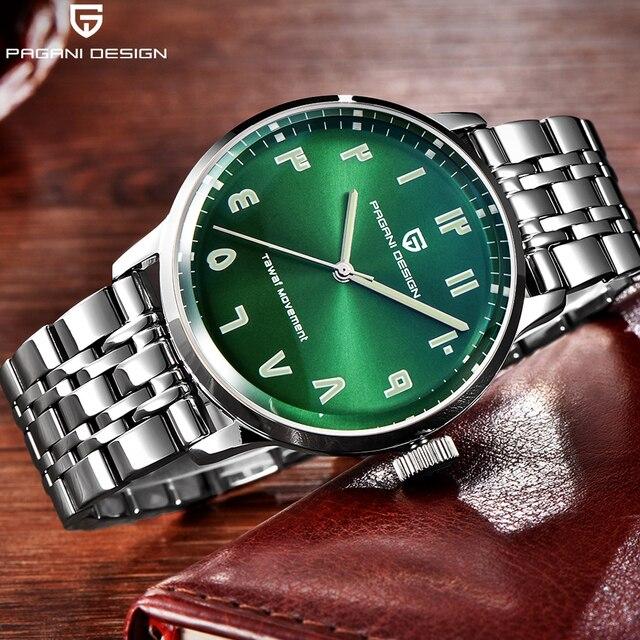 Green Face Watch >> Pagain Design Counterclockwise Working Watches Men Fashion Green