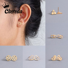 Chereda Simple Geometric Heart Stainless Steel Stud Earrings Gold Color Women Lady Classic Earring Jewelry Gifts