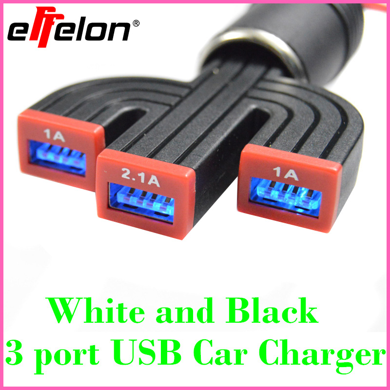 Effelon 4.1A Max 3 Port Car USB Charger protection circuits for iPad Air FOR iPad Mini Retina for iPhone for Tablet Smartphone