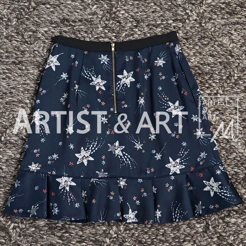 Falda Verano Roosarosee Volantes Rojo Mujeres Pista Nuevo De Faldas Azul Dulce C Diseñador 2019 Moda Imprimir Sirena Dama x4p0qXpw