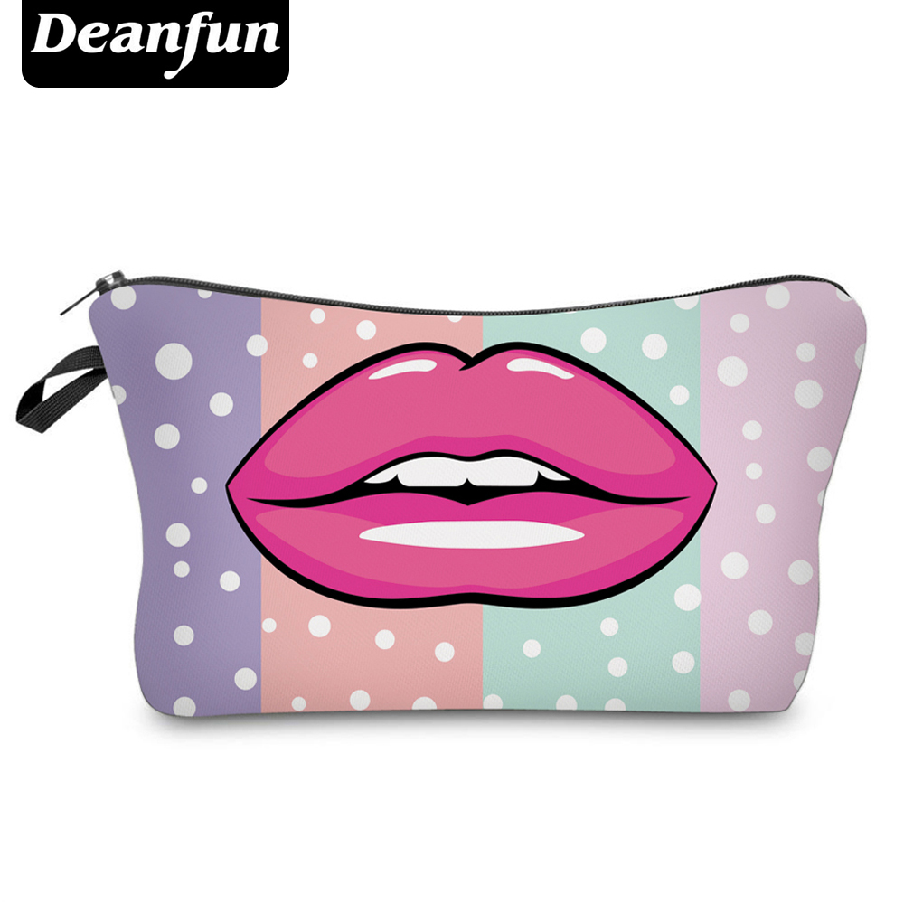 цена Deanfun Cosmetic Bags 3D Printing Lip Colorful Small Dot Makeup Organizer for Travel 51016