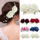 NEW 1PC Wedding Prom Headpiece Handmade Fashion Flower Hair Comb Accessories Jewelry Women Red Rose Flower Bridal Hair Comb Pins