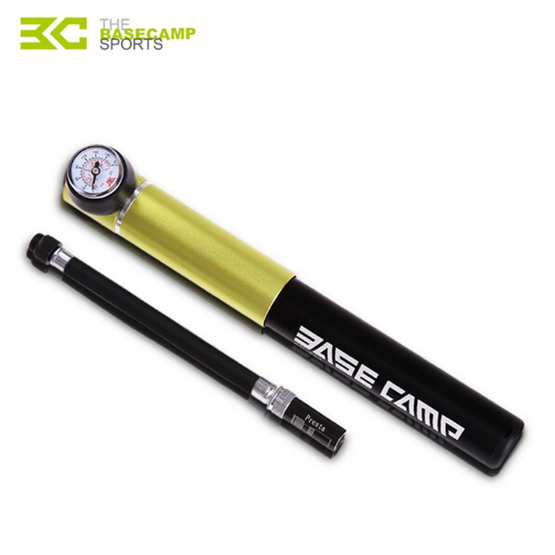 BASECAMP Bicycle Pump Bike Tire With Gauge Portable Pump For Mountain Road Bike Cycling Air Press Bike Pump Bicycle Accessories portable dual valves bicycle bike air pump w pressure gauge black silver