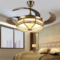 Ceiling Fans lamp LED 42 inch FUll Copper Frequency conversion motor Traditional ceiling fan light dimmer Remote control 85 265V
