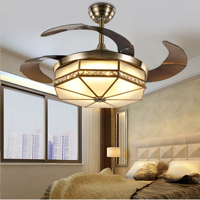 US $318 62 11% OFF|Ceiling Fans lamp LED 42 inch FUll Copper Frequency  conversion motor Traditional ceiling fan light dimmer Remote control 85  265V-in