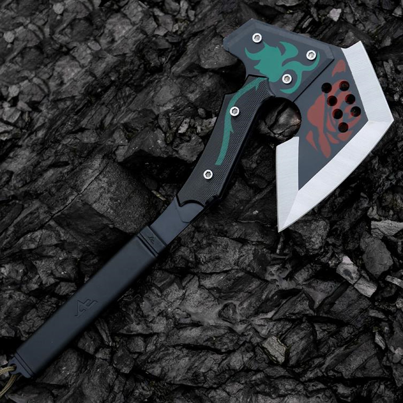 Outdoor Multifunction Self-defense Axe 420 Steel Colorful Rose Pattern CF Tactical Tomahawk Mountain Jungle Hatchet Ice Poleaxe cf gold tomahawk outdoor camping multifunction axe military axe car emergency survival self defense hand tools ice hatchet