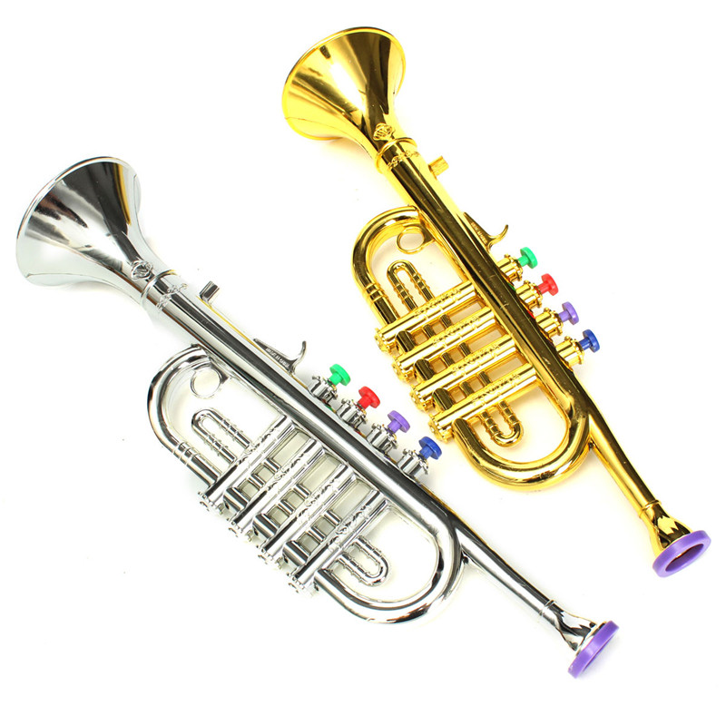 Entwicklungs Kunststoff Jungen Mädchen Kinder Spielzeug Geschenk Musical Instrument Trompete 37x10 cm Gold Silber