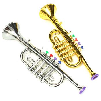 Rozwojowe plastikowe chłopcy dziewczęta zabawki dla dzieci prezent Instrument muzyczny trąbka 37x10cm złoto srebro tanie i dobre opinie SENRHY STAINLESS STEEL Posrebrzane Fosforu i miedzi Trumpet toy Other