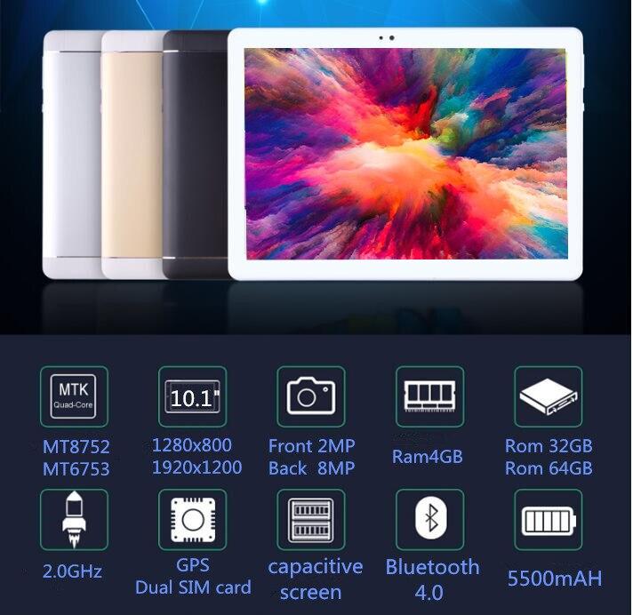 Livraison Gratuite Android 9.0 D'origine 10.1 pouces 3G/4G LTE Téléphone tablet PC 8 Octa Core RAM 6 GB ROM 32 GB 64 GB IPS comprimés pcs S109