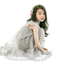 2f26024bf Los niños sin mangas de encaje vestido de Navidad gris traje de la princesa  edad 4-14 años las niñas grandes de tul bordado arco.