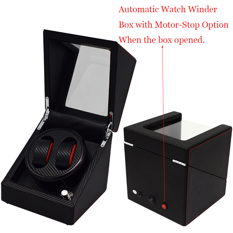 Open box self stop motor rotate watch winders for automatic watches new design black carbon dry battery/plug 110-240v global use watch winders case cabinet grids rotate watch motor machine box gift world use safe plug watches watch winders drop shipping new