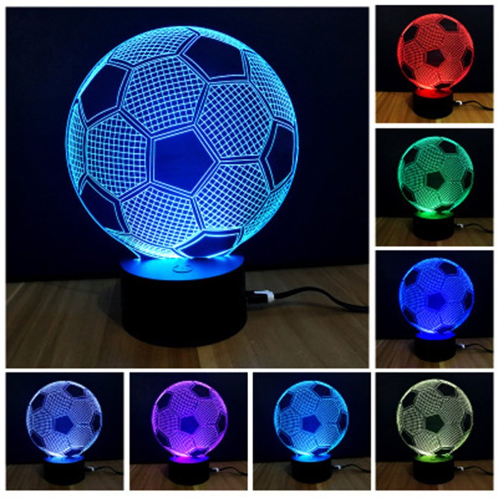 Souvenir Gift Colorful Touch Switch Table Desk Light 3D Acrylic LED Night Light Lamp Acrylic Atmosphere Light for Football