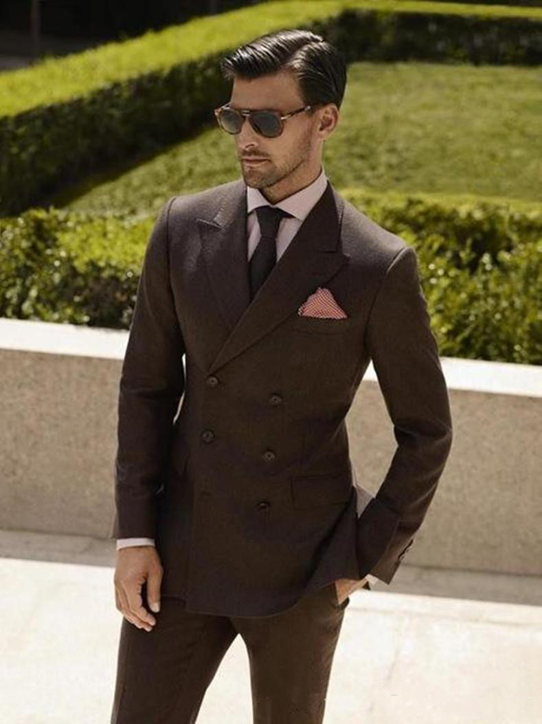 2019 Double Breasted Brown Wedding Suits 2 Pieces Mens Suits Slim Fit (Jacket+Pants) Groom Tuxedos Groomsman Suits Business Suit