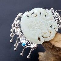 Серебряные ювелирные изделия оптовая продажа ручной работы, натуральные Хотан нефрита Серебряный кулон Винтаж тайский серебряный кисточк