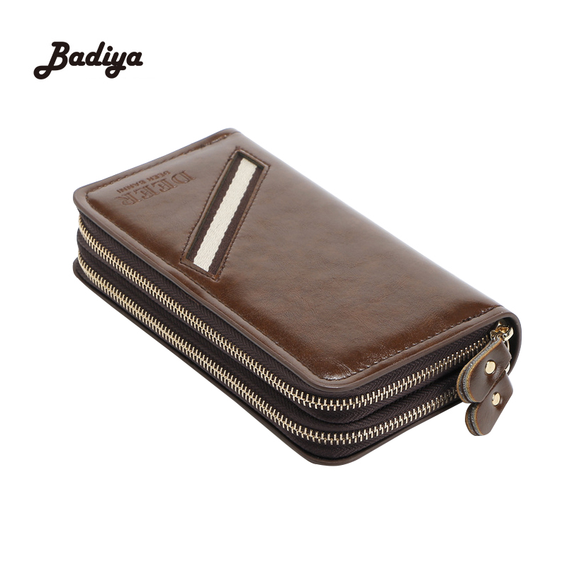 New Male Clutch Bag Double Zipper Men's Wallet Leather PU Business Long Wallet Designer Mobile Pouch Brown Baelerry Purse сумка brialdi business mobile mobile shiny brown