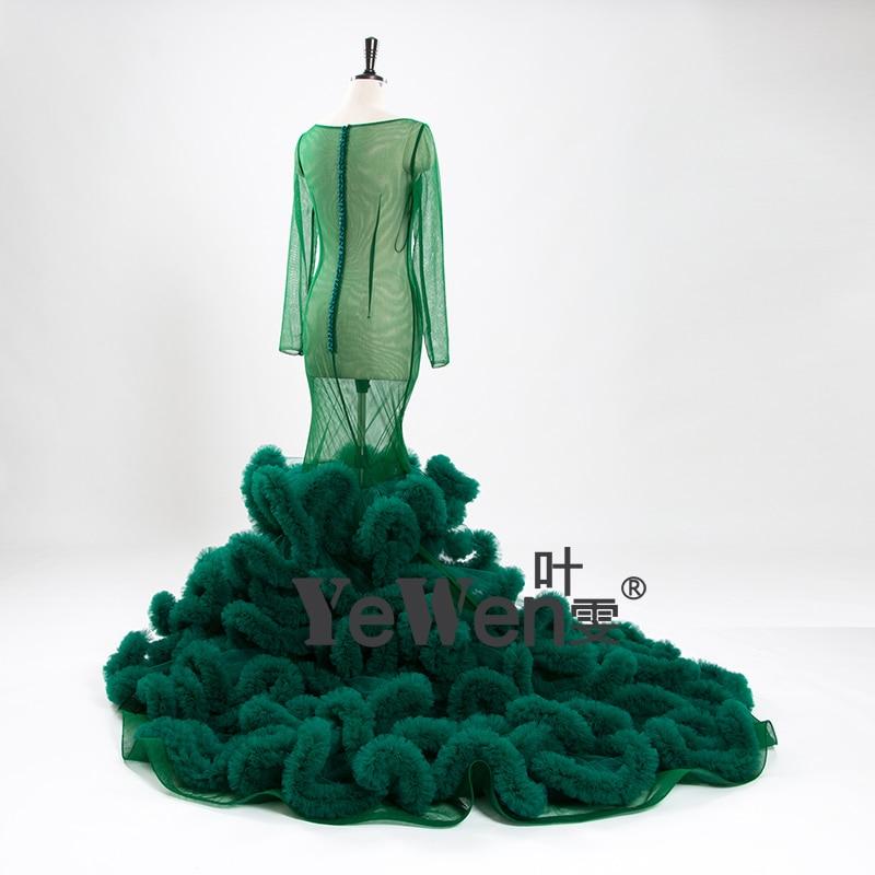 YeWen foto Real Sexy ver a través De cuello redondo, manga larga De tul verde Vestido De Novia sirena vestidos De Novia Vestido De Novia 2019 - 3
