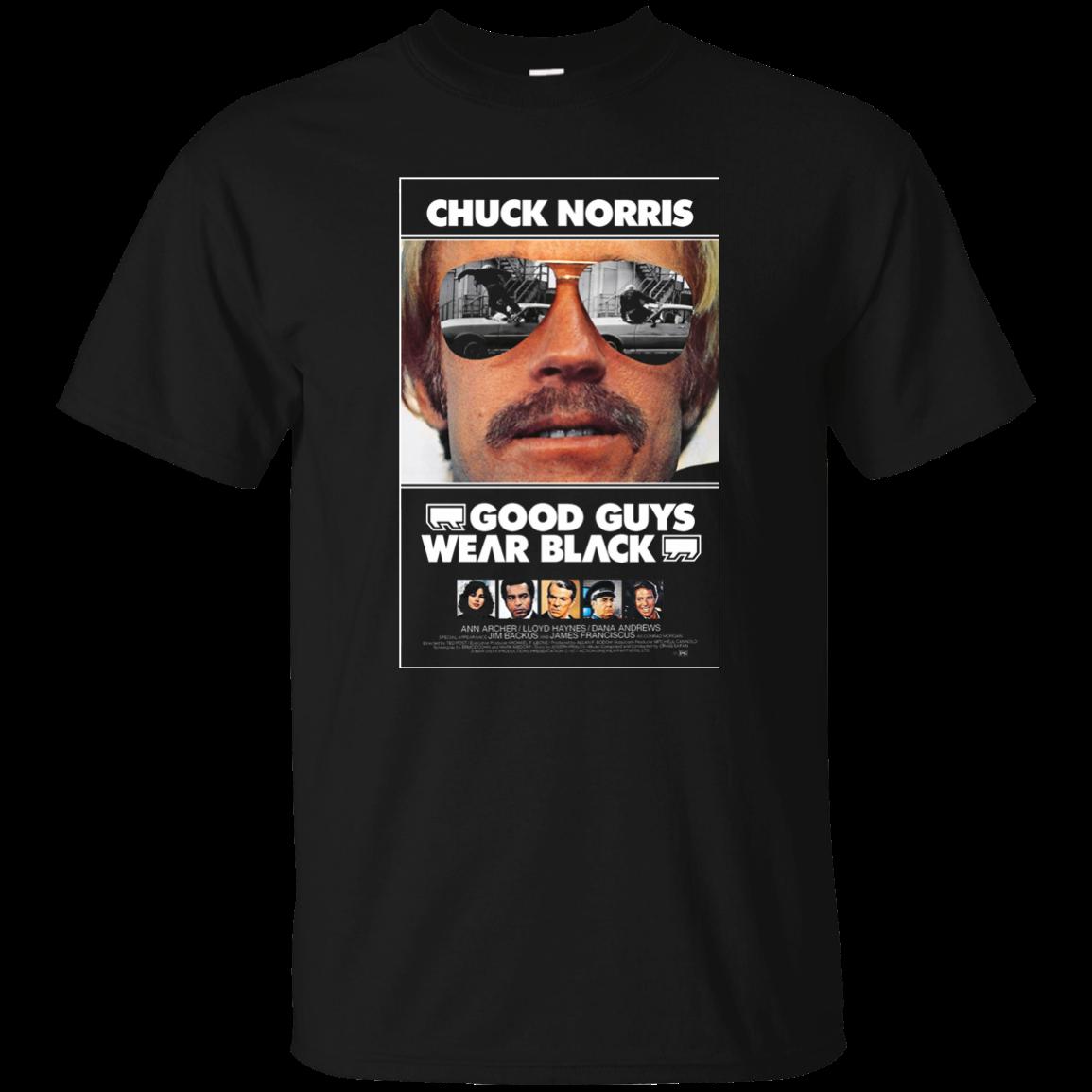 Good Guys Wear Black T Shirt Chuck Norris Retro S S - Good guys clothing