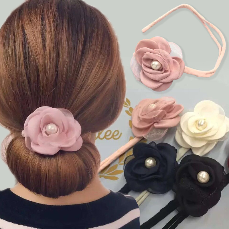 1Pcs flowers pearl chiffon Hairdisk Quick Pan head Clip Hair Accessories Hair Styling Tools DIY   Headwear   Head Bands for Women