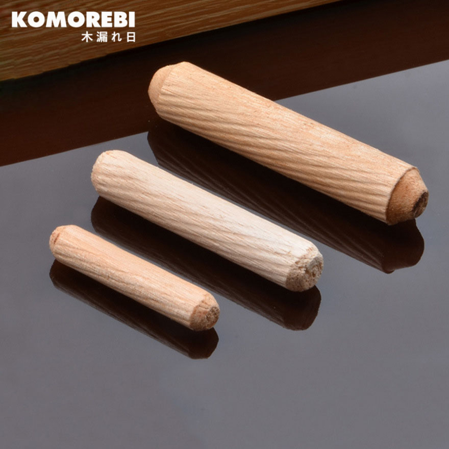 Komorebi 100Pcs Woodworking Doweling Jig Kit Round Grooved Fluted Wooden Plug Wood Dowel Pins Rod Drilling Guide Locator Tool