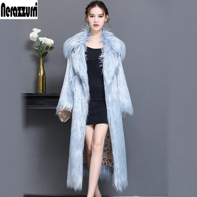 Nerazzurri Winter Faux Fur Coat women extra long hairy thicken warm belt fake fur overcoat plus size shaggy outwear 5xl 6xl 7xl