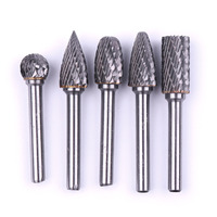 Hot 5Pcs/Set Multi shape 6*12mm Tungsten carbide Rotary Files Burr Double cut Dremel Rotary Tools with 6mm Shank Carbide Burr