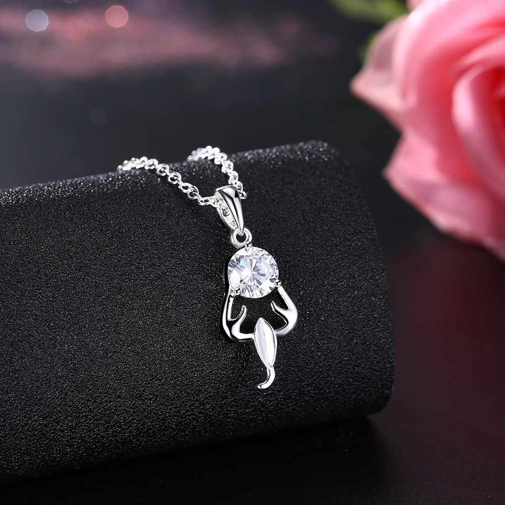 Romantic Fashion Jewelry Silver Plated Pendant Necklace For Women Bride Necklace Jewellery Supplier Low Price