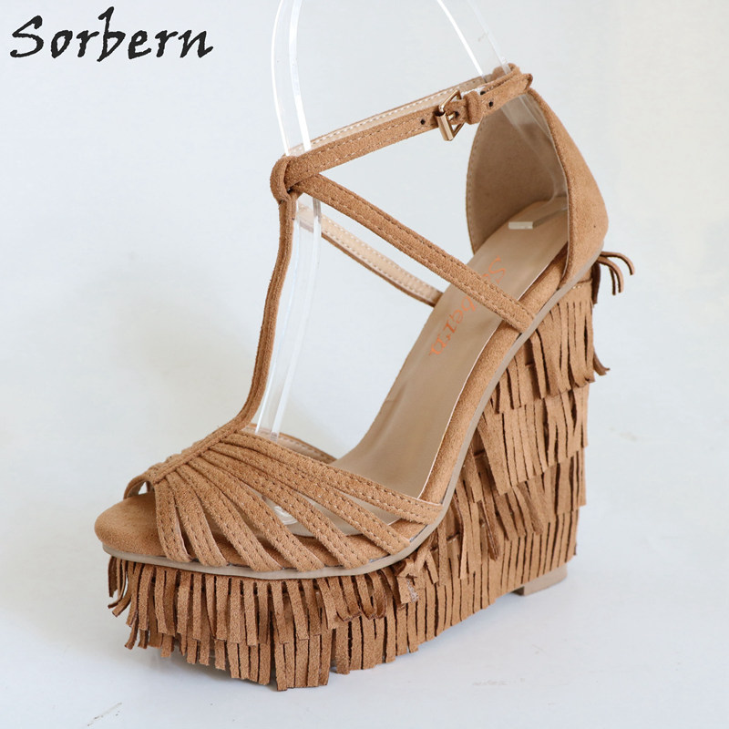 Sorbern Brown T-Strap Wedge Sandals High Heel Platform Heels Fringe Shoes Women Summer Designer Shoes Ladies Shoes Size 44 newest designer women s feather crystal t strap sandals high heel triple bands t strap women shoes woman size 34 42 drop sh