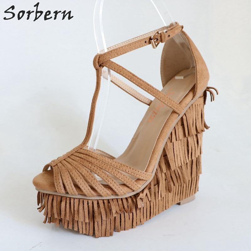 Cuña correa Mujer Con Sandalias Marrón Plataforma Tacón Sorbern Alto Diseñador Tamaño 44 Color De custom Marrón Verano Zapatos T Tacones Ax0w7EEq