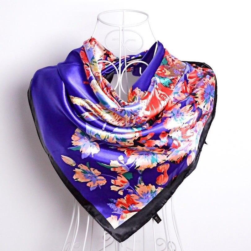 Дизайн женский Шелковый большой квадратный шелковый шарф из полиэстера, 90*90 см горячая Распродажа атласный шарф с принтом для весны, лета, осени, зимы - Цвет: purple blue