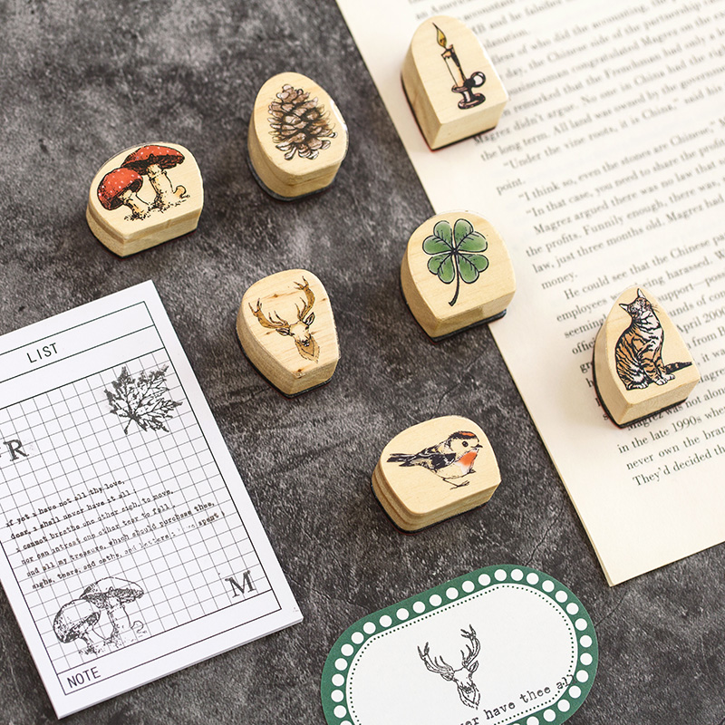Lost Forest Series Stamp Cute Cat Flower Diy Wooden Rubber Stamps Seal For Scrapbooking Student Prize Promotional Stationery