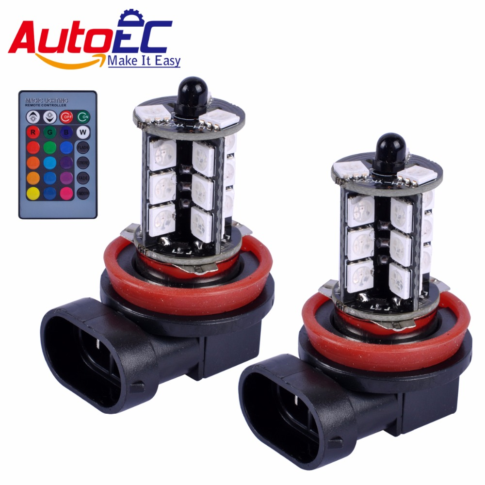 AutoEC 1 set RGB LED h11 h8 led 9005 9006 HB3 HB4 5050 LED 27 SMD Car Headlight Fog Light Head Lamp Bulb Remote Control #LJ71